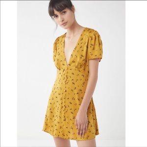 Urban Outfitters Jen Button-Down Mini Satin Dress